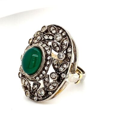 A VINTAGE DRESS RING SET WITH CHRYSOPRASE