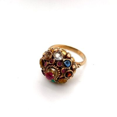 A VINTAGE MULTI GEM SET PRINCESS RING