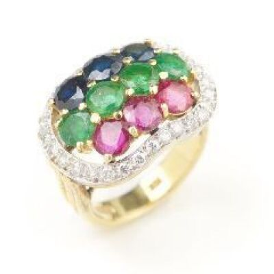 A RUBY, EMERALD AND SAPPHIRE RING