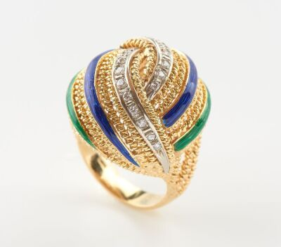 A VINTAGE BLUE AND GREEN ENAMEL DRESS RING