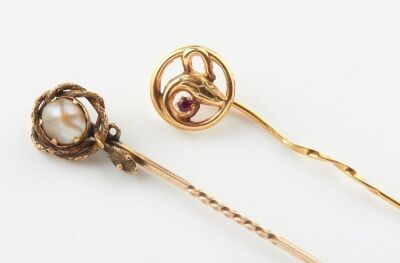 TWO ANTIQUE GEM SET STICK PINS